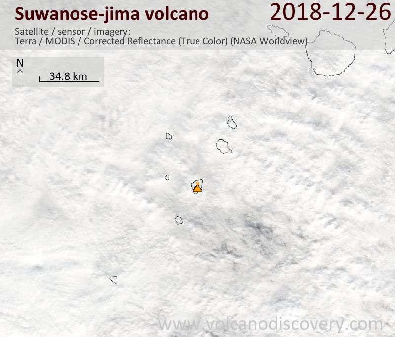 Satellite image of Suwanose-jima volcano on 26 Dec 2018
