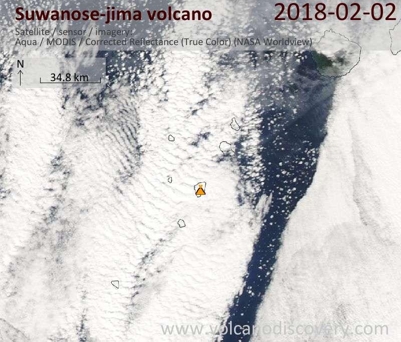 Satellite image of Suwanose-jima volcano on  2 Feb 2018