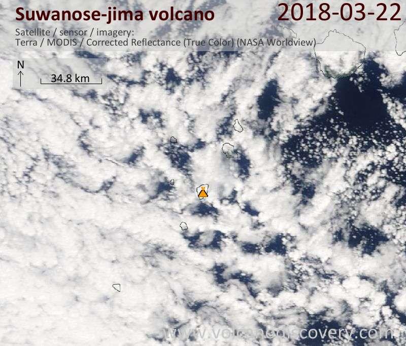 Satellite image of Suwanose-jima volcano on 22 Mar 2018