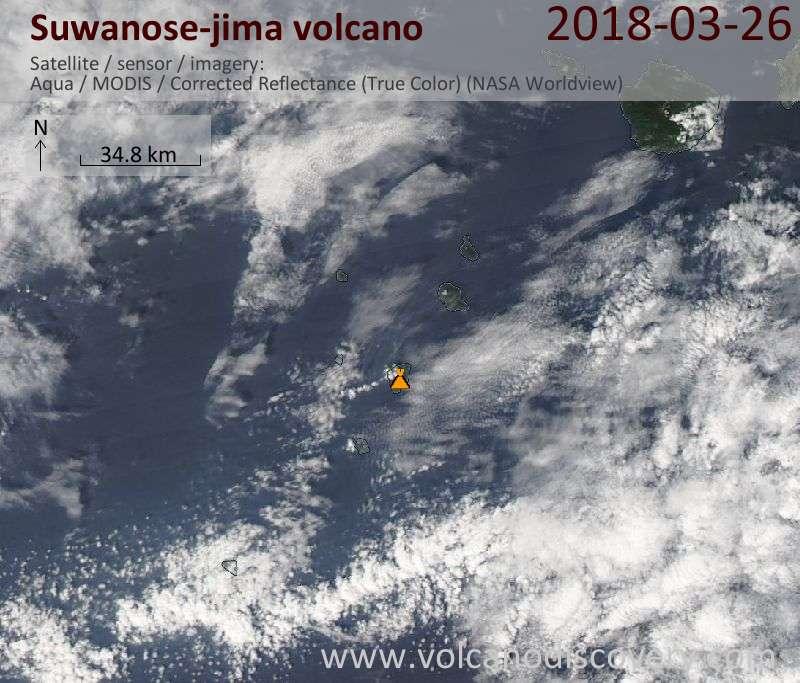 Satellite image of Suwanose-jima volcano on 26 Mar 2018