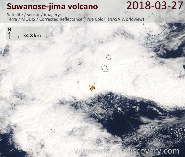 Satellite image of Suwanose-jima volcano on 27 Mar 2018