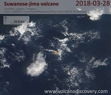 Satellite image of Suwanose-jima volcano on 28 Mar 2018