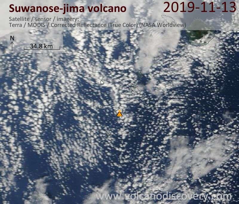 Satellite image of Suwanose-jima volcano on 13 Nov 2019