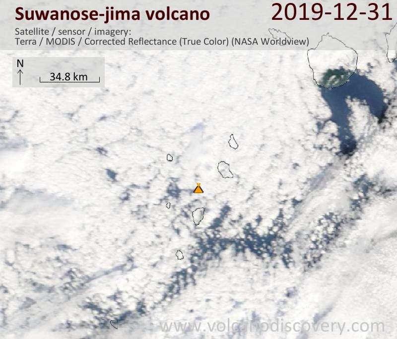 Спутниковое изображение вулкана Suwanose-jima 31 Dec 2019