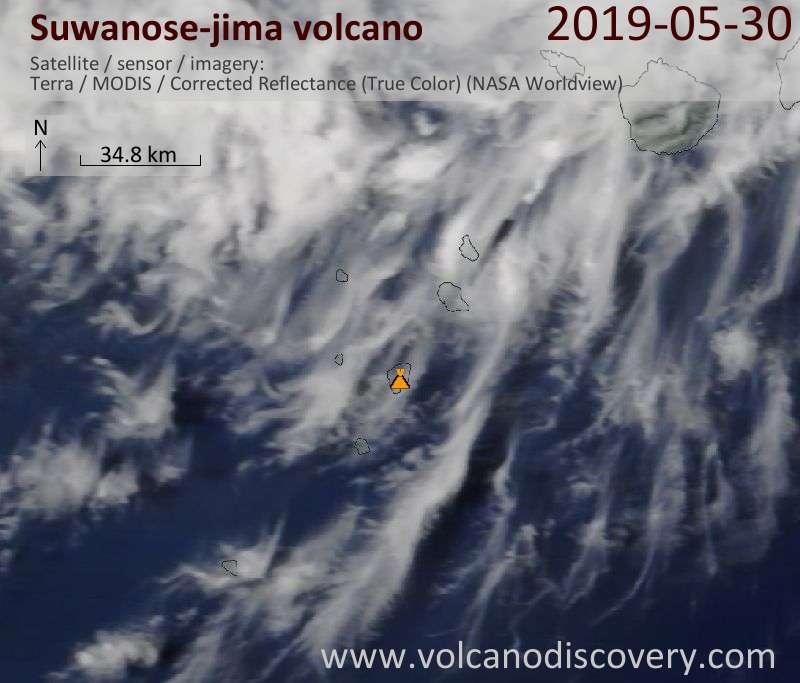 Satellite image of Suwanose-jima volcano on 30 May 2019
