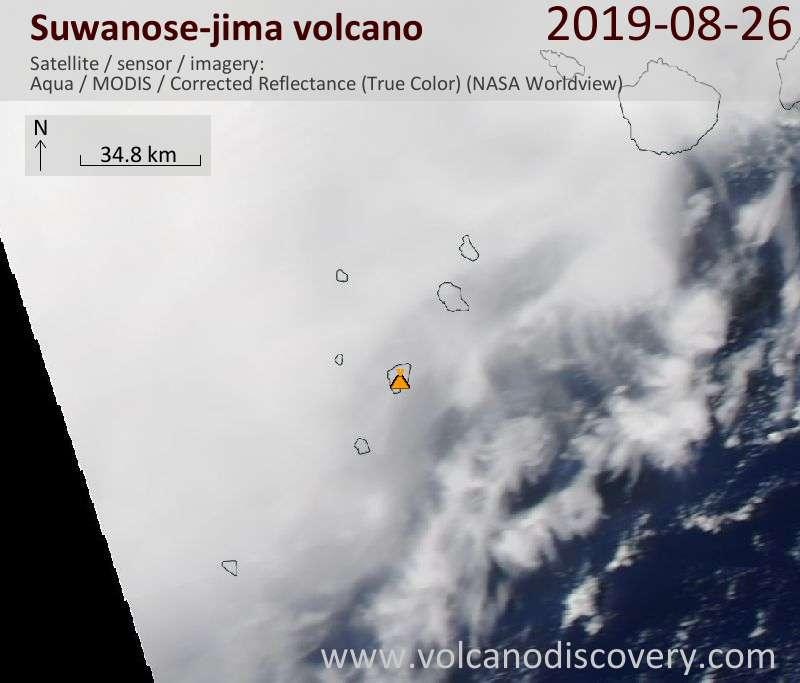 Satellite image of Suwanose-jima volcano on 26 Aug 2019
