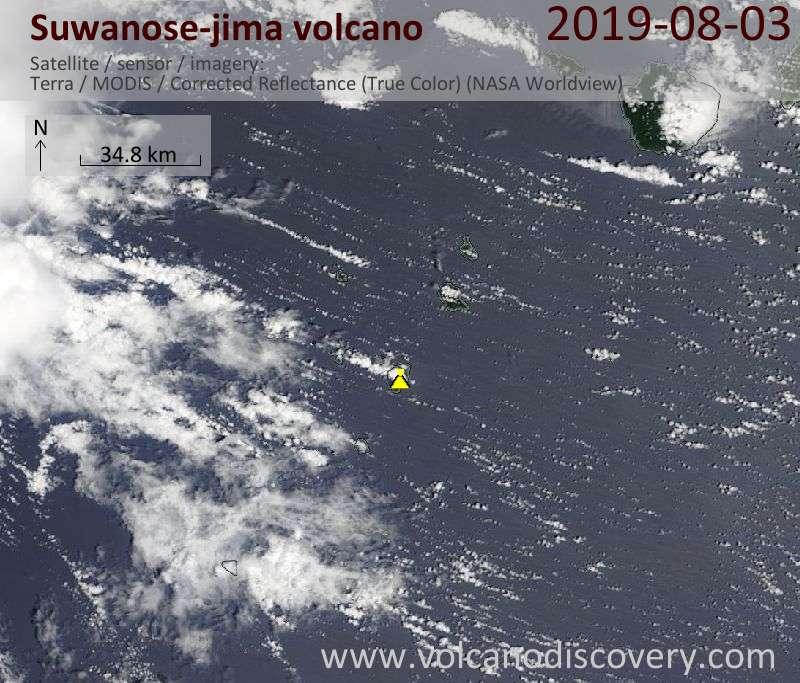 Satellite image of Suwanose-jima volcano on  3 Aug 2019