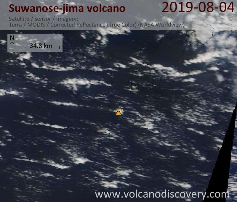 Satellite image of Suwanose-jima volcano on  4 Aug 2019