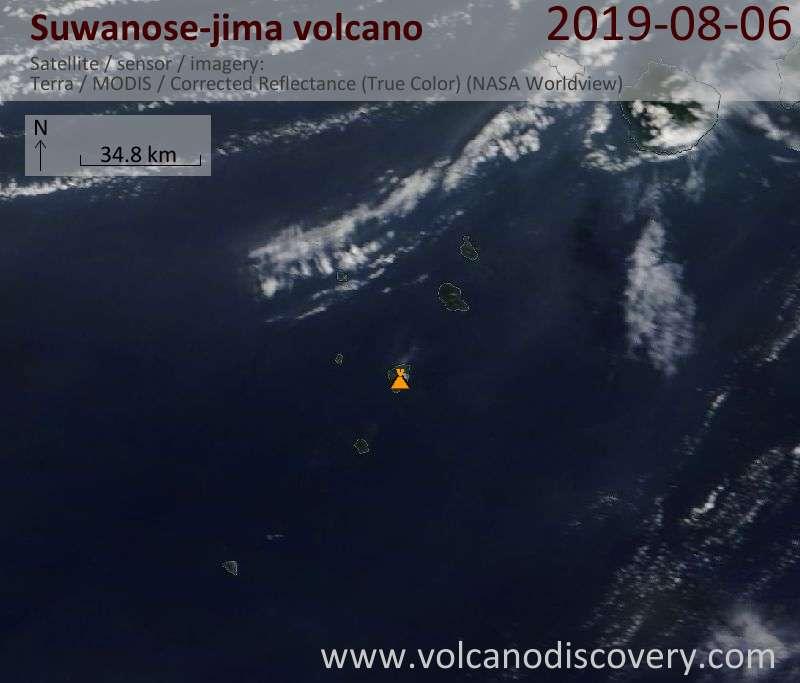 Satellite image of Suwanose-jima volcano on  6 Aug 2019