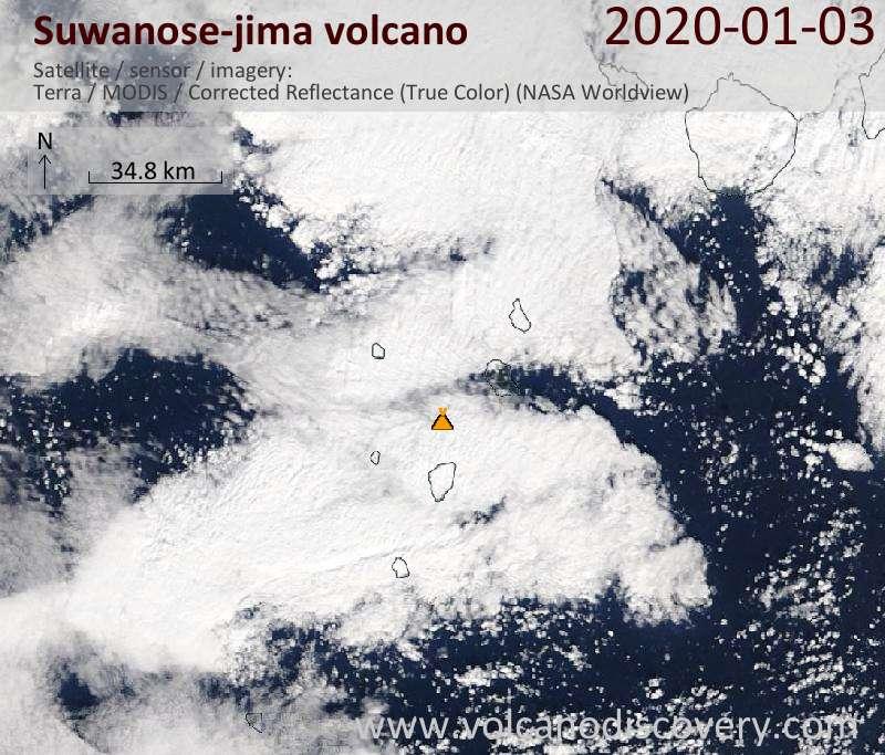 Satellite image of Suwanose-jima volcano on  3 Jan 2020