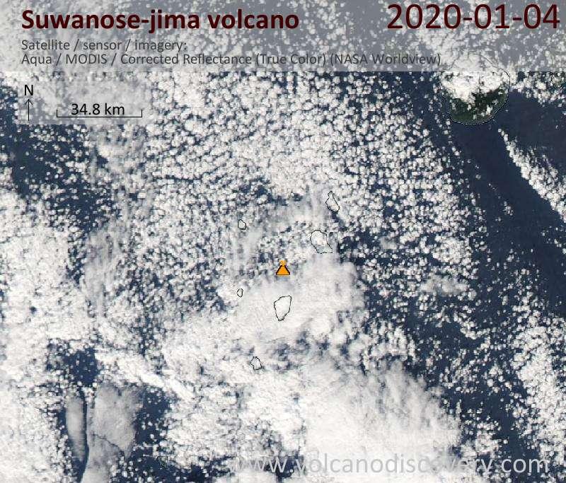 Satellite image of Suwanose-jima volcano on  4 Jan 2020