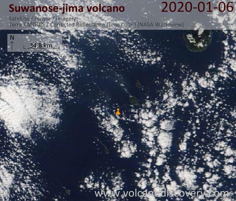 Satellite image of Suwanose-jima volcano on  6 Jan 2020