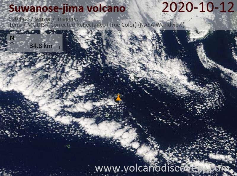 Спутниковое изображение вулкана Suwanose-jima 12 Oct 2020