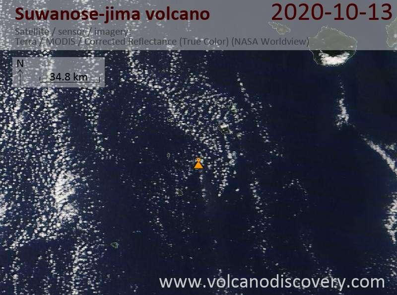 Спутниковое изображение вулкана Suwanose-jima 13 Oct 2020