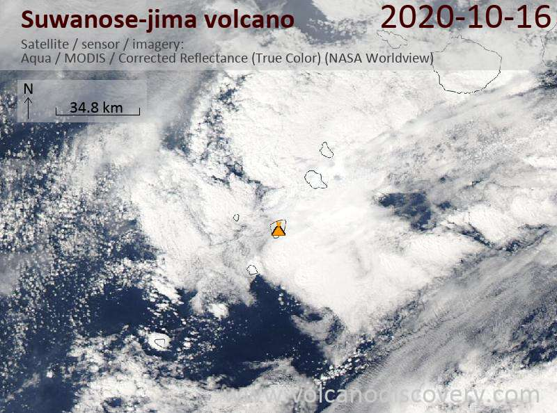 Satellitenbild des Suwanose-jima Vulkans am 16 Oct 2020