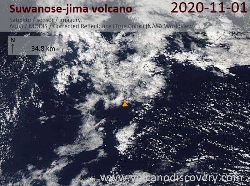 Satellite image of Suwanose-jima volcano on  1 Nov 2020