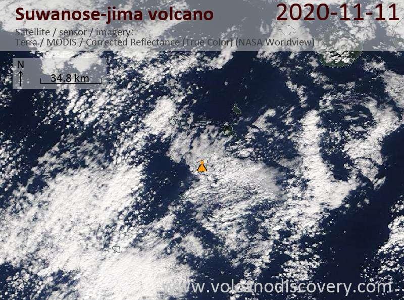 Satellite image of Suwanose-jima volcano on 11 Nov 2020