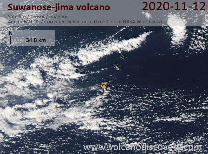 Satellite image of Suwanose-jima volcano on 12 Nov 2020
