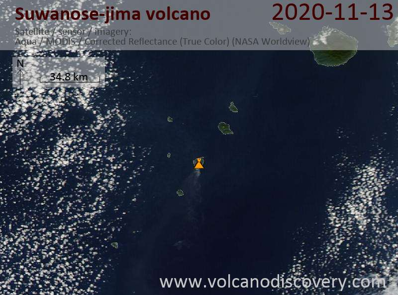 Satellite image of Suwanose-jima volcano on 13 Nov 2020