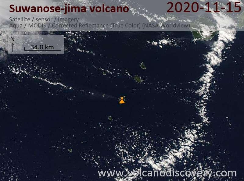 Satellite image of Suwanose-jima volcano on 15 Nov 2020