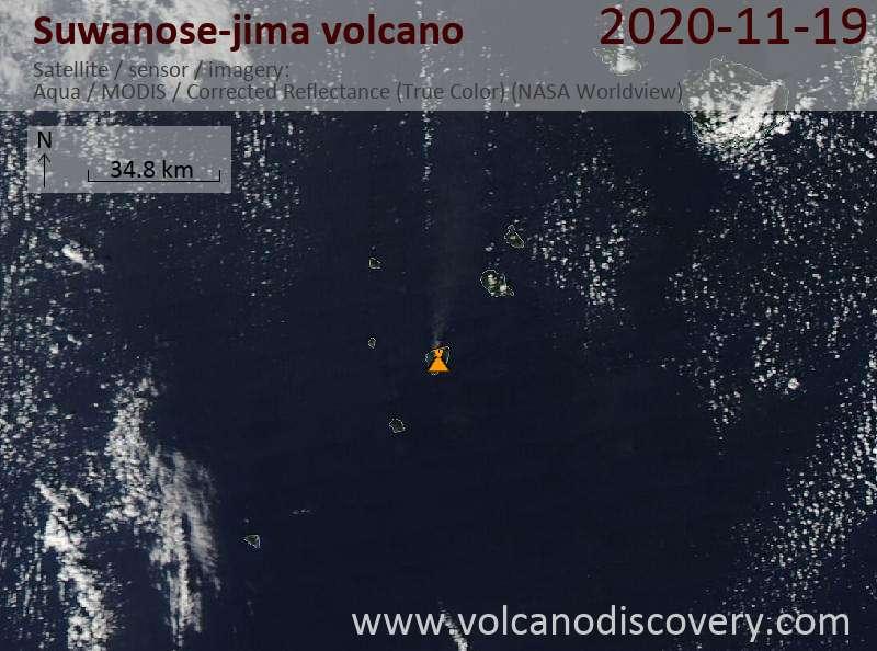 Satellite image of Suwanose-jima volcano on 19 Nov 2020