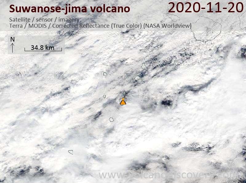 Satellite image of Suwanose-jima volcano on 20 Nov 2020