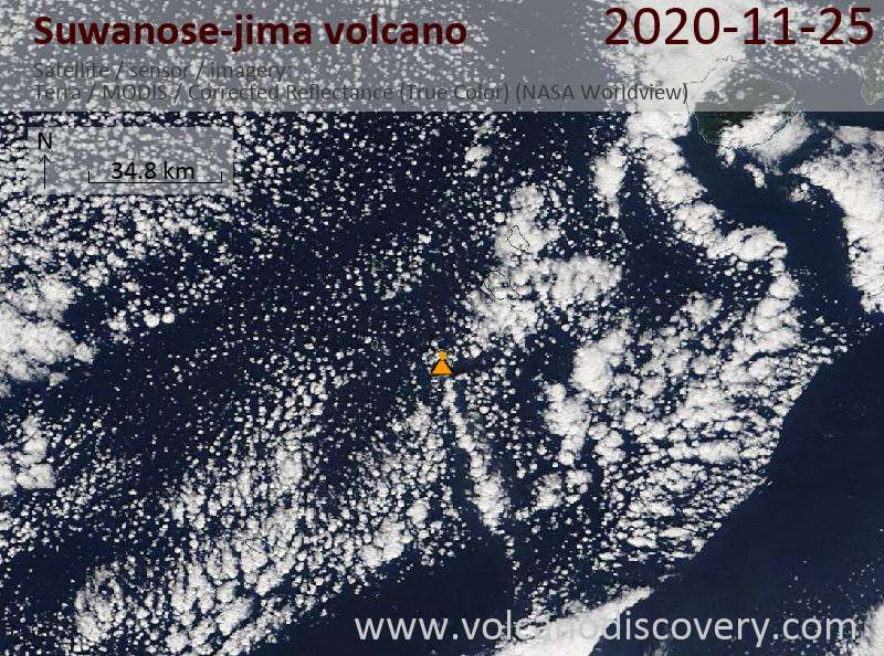 Satellite image of Suwanose-jima volcano on 25 Nov 2020