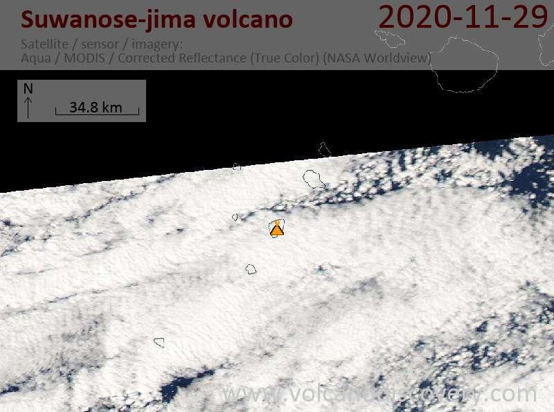 Satellite image of Suwanose-jima volcano on 29 Nov 2020