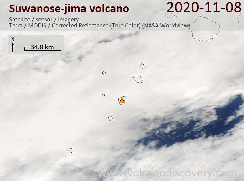 Satellite image of Suwanose-jima volcano on  8 Nov 2020
