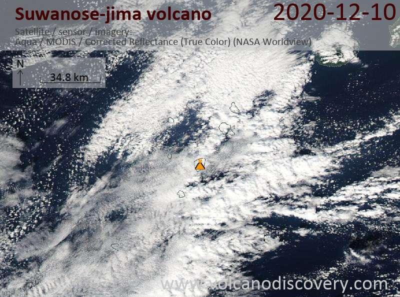 Satellite image of Suwanose-jima volcano on 10 Dec 2020