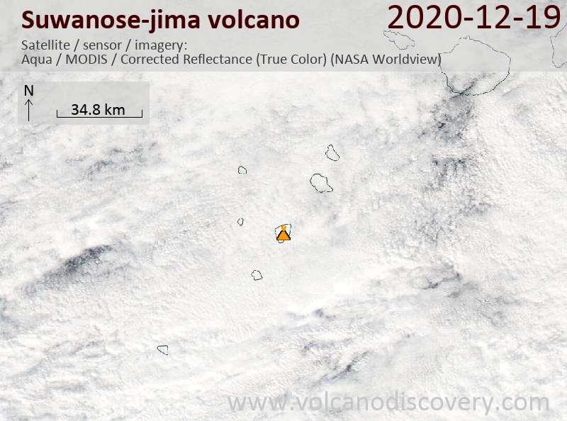 Satellite image of Suwanose-jima volcano on 19 Dec 2020