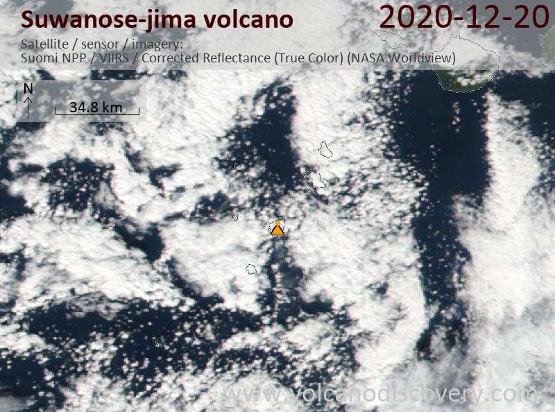 Satellite image of Suwanose-jima volcano on 20 Dec 2020