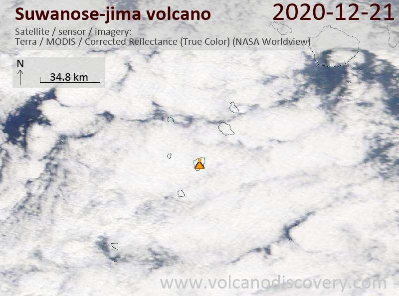 Satellite image of Suwanose-jima volcano on 21 Dec 2020