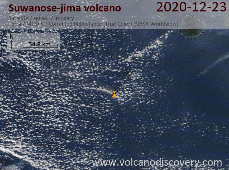 Satellite image of Suwanose-jima volcano on 23 Dec 2020