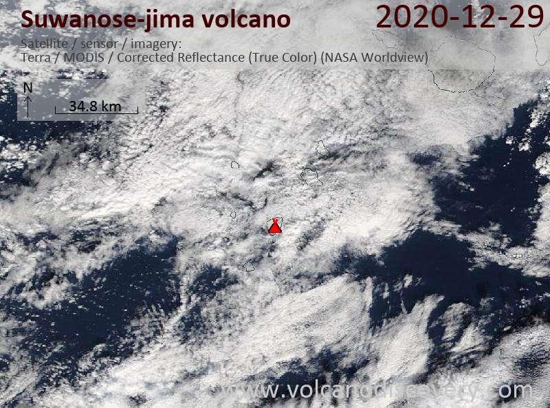Satellitenbild des Suwanose-jima Vulkans am 29 Dec 2020