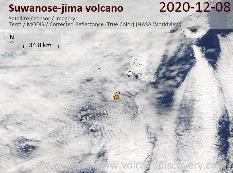 Satellite image of Suwanose-jima volcano on  8 Dec 2020