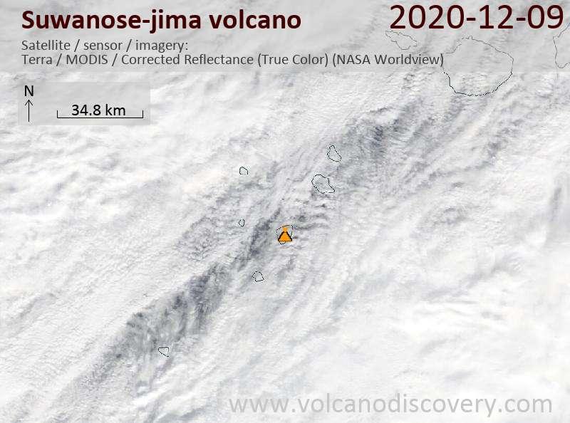 Satellite image of Suwanose-jima volcano on  9 Dec 2020