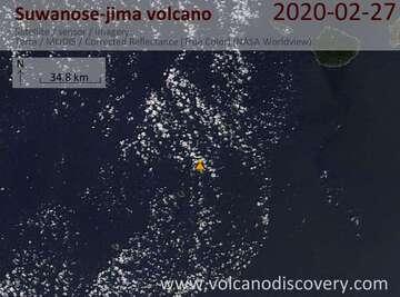 Satellite image of Suwanose-jima volcano on 27 Feb 2020