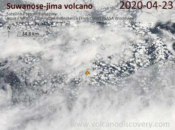 Satellite image of Suwanose-jima volcano on 23 Apr 2020