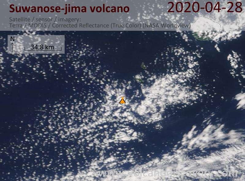 Satellite image of Suwanose-jima volcano on 28 Apr 2020
