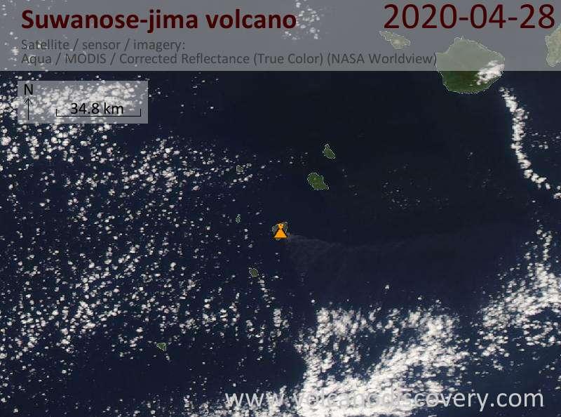 Satellite image of Suwanose-jima volcano on 29 Apr 2020