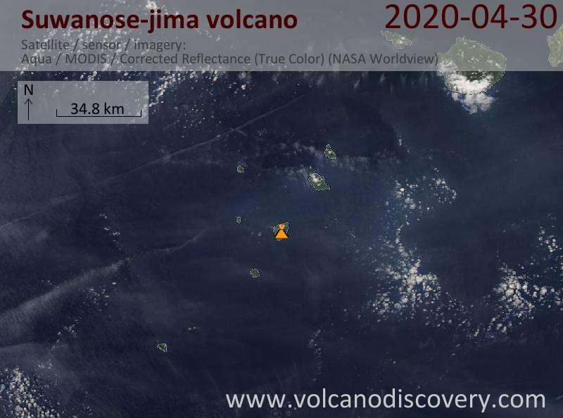 Satellite image of Suwanose-jima volcano on 30 Apr 2020