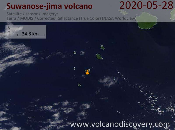 Satellite image of Suwanose-jima volcano on 28 May 2020