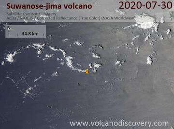 Satellite image of Suwanose-jima volcano on 30 Jul 2020