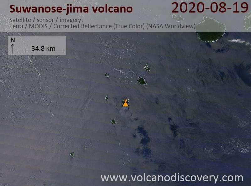 Satellite image of Suwanose-jima volcano on 19 Aug 2020