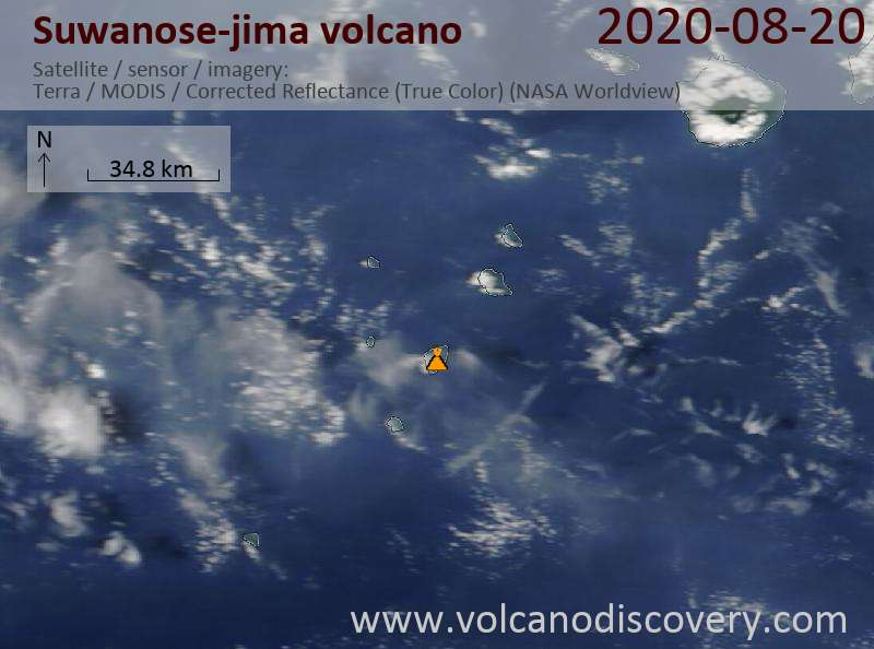 Satellite image of Suwanose-jima volcano on 20 Aug 2020