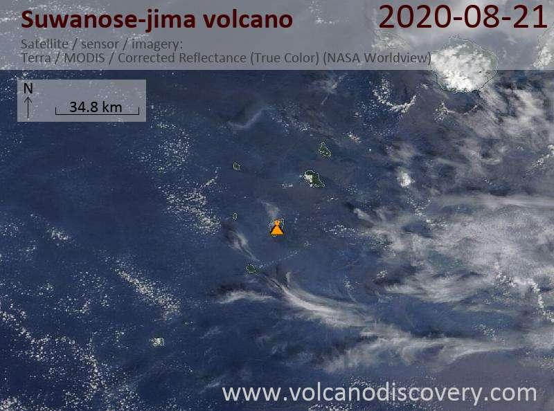 Satellite image of Suwanose-jima volcano on 21 Aug 2020