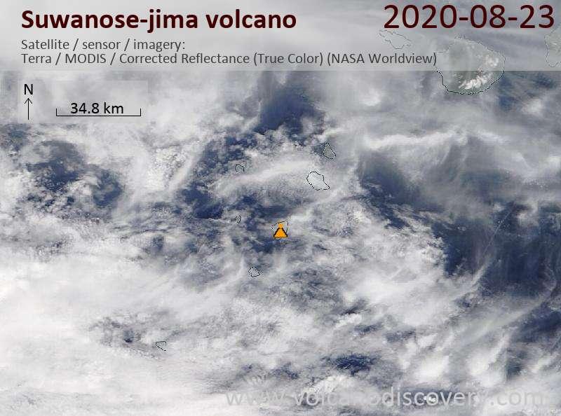 Satellite image of Suwanose-jima volcano on 23 Aug 2020