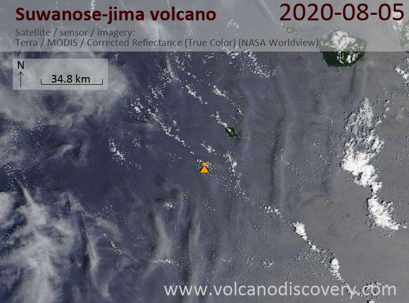 Satellite image of Suwanose-jima volcano on  5 Aug 2020