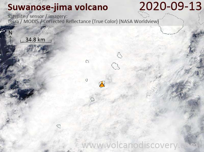 Satellitenbild des Suwanose-jima Vulkans am 13 Sep 2020